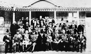 Foto tomada tras la firma del tratado