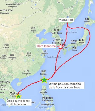 Posibles rutas del 2º Escuadrón del Pacífico