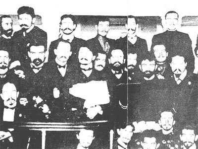 Part of the First St. Petersburg Soviet of Workers Deputies in 1905  Trotsky is in the middle row, fourth from the left.
